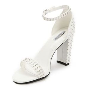 Faux Leather Studded Ankle-Strap